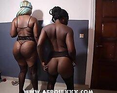 2 beautiful ebony girls dancing on an African song