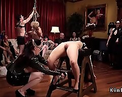 Bdsm orgy combo unite with latex and spanking