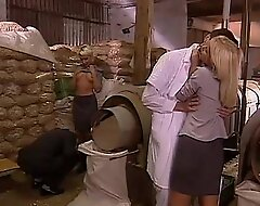 Lecherous orgy in a factory all round two blonde sluts