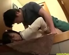 Japanese teen Yuzu is molested and forced  in an elevator
