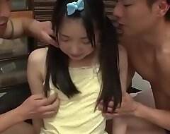 Japanese Schoolgirl Legal age teenager With Close-matched Body Fucked Enduring In Threesome