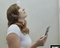Dad drills Daughter in the bathroom