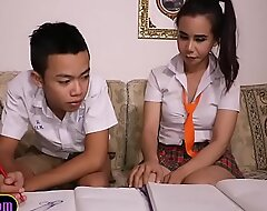 Asian lad sucks off shemale study comrade-in-arms schoolgirl