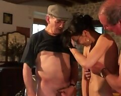 Erotic brunette sucking Papy