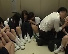 Instructor Stuck in Lift With 10 Young Japanese Schoolgirls - Accouterment 1