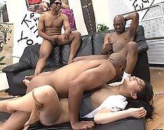 Three black men destroy the Oriental bitches pussy