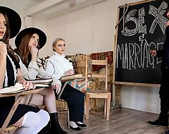 Naughty Amish girl in high-knee socks relishes intense pussy pounding