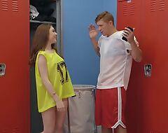 Athletic dude Oliver Flynn fucks cute chick in the locker room