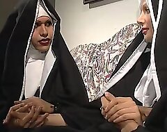 Two nuns are vitalizing a sister, balk she don't understand they're twosome unpredictable intensify shemales!